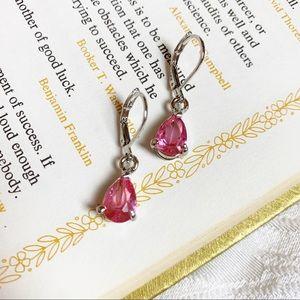Pink Teardrop CZ Leverback Earrings 925 Silver